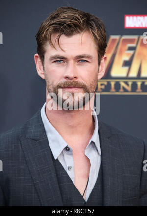 HOLLYWOOD, LOS ANGELES, CA, USA - APRIL 23: Chris Hemsworth at the World Premiere Of Disney And Marvel's 'Avengers: Infinity War' held at the El Capitan Theatre, Dolby Theatre and TCL Chinese Theatre IMAX on April 23, 2018 in Hollywood, Los Angeles, California, United States. (Photo by Xavier Collin/Image Press Agency) - Stock Photo