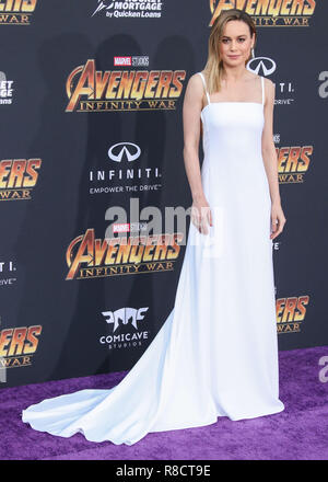 HOLLYWOOD, LOS ANGELES, CA, USA - APRIL 23: Brie Larson at the World Premiere Of Disney And Marvel's 'Avengers: Infinity War' held at the El Capitan Theatre, Dolby Theatre and TCL Chinese Theatre IMAX on April 23, 2018 in Hollywood, Los Angeles, California, United States. (Photo by Xavier Collin/Image Press Agency) - Stock Photo
