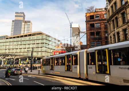 Shudehill Interchange, Co-Operative and Metrolink in Central Manchester UK - Stock Photo
