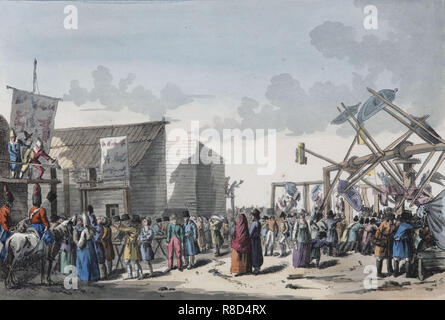 Swing Ride at a Russian Fair, 1821. - Stock Photo