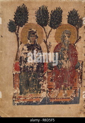 The Parable of the Rich Man and the Beggar Lazarus (Manuscript illumination from the Matenadaran Gos - Stock Photo