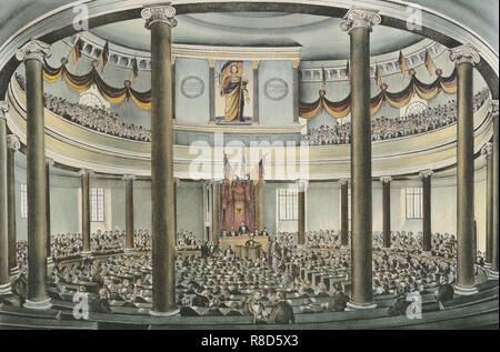 Session of the Frankfurt National Assembly in the Paulskirche at Frankfurt am Main, 1848. - Stock Photo