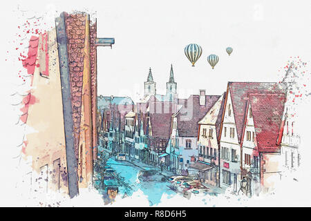 A watercolor sketch or illustration of a beautiful street in Rothenburg ob der Tauber in Germany with beautiful houses in German style. Hot air balloons are flying in the sky. - Stock Photo