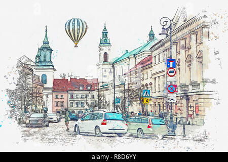 A watercolor sketch or illustration of a traditional street with apartment buildings in Warsaw, Poland. Cars go on the road. Hot air balloon flies in the sky. - Stock Photo