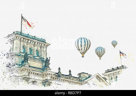 Watercolor sketch or illustration. German flag over the Reichstag building in Berlin. Hot air balloons are flying in the sky. - Stock Photo