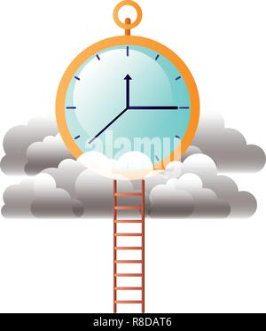 clock with clouds and stairs - Stock Photo