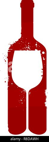 Wine bottle and glass. Alcoholic drink. Vector illustration - Stock Photo