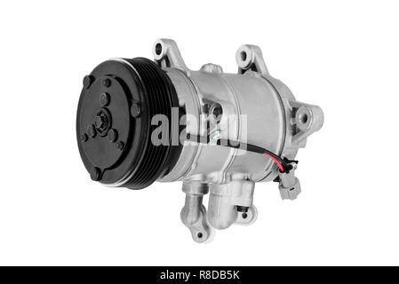 Car air conditioner compressor on a white background - Stock Photo