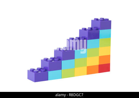 Colorful rainbow colored ascending stacks made of toy building bricks, isolated on white background. - Stock Photo