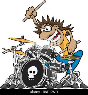 Wild Drummer Playing Drum Set Cartoon Vector Illustration - Stock Photo