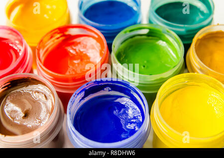 paints gouache top view closeup - Stock Photo