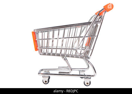 Photo image of a shopping trolley isolated on white - Stock Photo