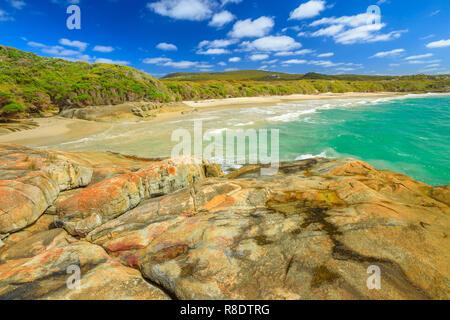 Australian travel summer destination. Waterfall Beach in Denmark region, Western Australia. Great Southern Ocean coastline in William Bay National Park. Sunny day, blue sky. - Stock Photo