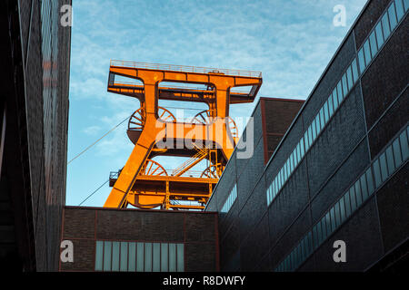 Zollverein Coal Mine in Essen, UNESCO World Heritage Site, Doppelbock winding tower of Shaft XII, - Stock Photo