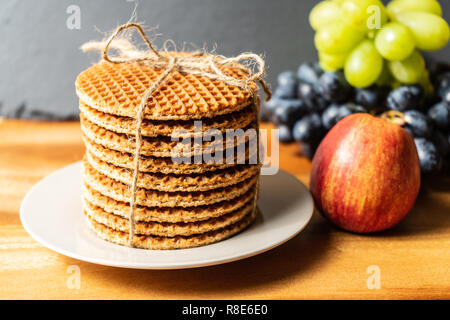 All butter waffles with a deliciously smooth caramel filling and a hint of cinnamon - Stock Photo