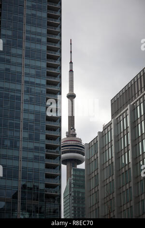 TORONTO, CANADA - NOVEMBER 13, 2018: Canadian National Tower (CN Tower) surrounded by modern skyscrapers in Toronto. CN Tower is the tallest building  - Stock Photo