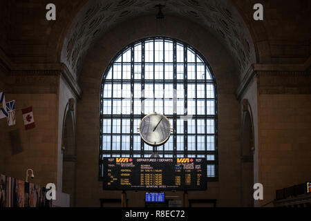 TORONTO, CANADA - NOVEMBER 13, 2018: Toronto main hall with its departures and arrivals board. It is the main railway station for Via Rail in Ontario  - Stock Photo