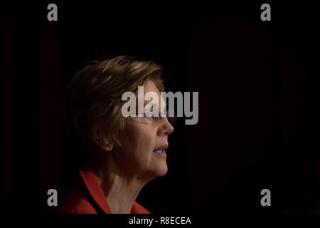U.S. Senator Elizabeth Warren discusses her American Housing and Economic Mobility Act during a press conference December 11, 2018 in Washington, DC. Frustrated by inaction in the Republican controlled Senate, Warren partnered with Democrats in the House to sponsor the bill which will dramatically increase the federal investment in affordable housing. - Stock Photo