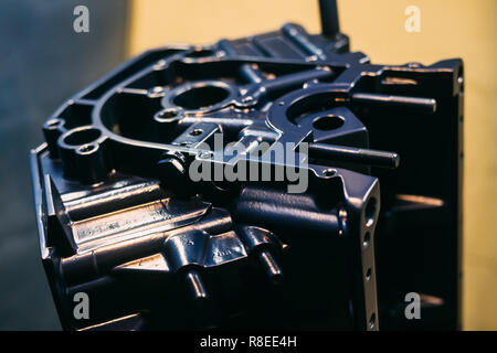 Painted engine block in blue color, disassembled motor - Stock Photo