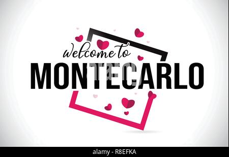 MonteCarlo Welcome To Word Text with Handwritten Font and  Red Hearts Square Design Illustration Vector. - Stock Photo