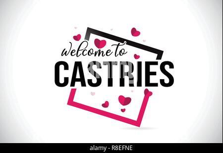 Castries Welcome To Word Text with Handwritten Font and  Red Hearts Square Design Illustration Vector. - Stock Photo