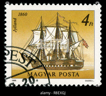 Postage stamp from Hungary in the  Ships (1988) series - Stock Photo