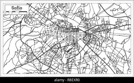 Sofia Bulgaria City Map in Retro Style. Outline Map. Vector Illustration. - Stock Photo