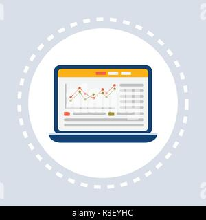 laptop screen online financial business analysis trading statistic analytics graphs computer app flat isolated - Stock Photo