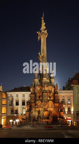 Holy Trinity column at Upper Square (Horni namesti) in Olomouc. Moravia. Czech Republic - Stock Photo