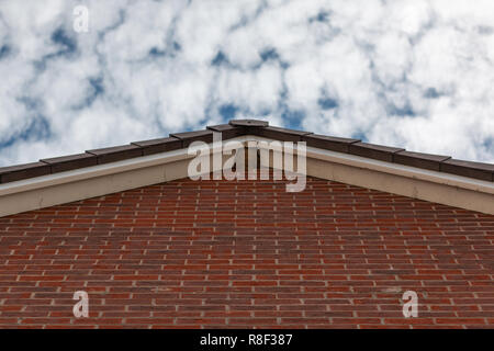 Birds nest in the roof apex of a house - Stock Photo
