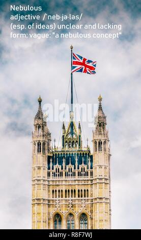 London, UK - Dec 14, 2018: Nebulous Victoria Tower, Palace of Westminster, United Kingdom during Brexit negotiations in December 2018 Stock Photo