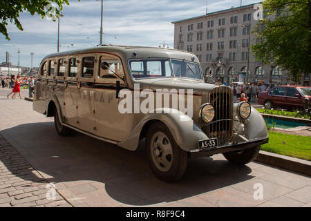 Historical vehicle, Sisu 322 bus from the year 1933 restored to its appearance while serving the Helsinki Jazz band 'Dallape'. - Stock Photo