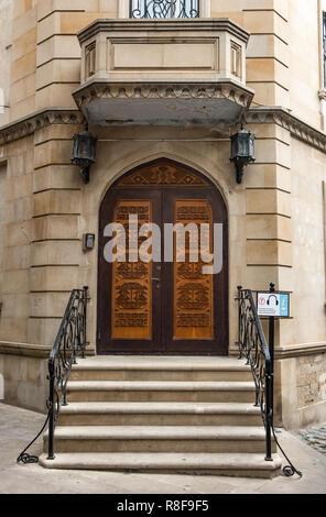 Baku/Azerbaijan - May 10, 2018.  Ancient wooden door in the museum - Stock Photo