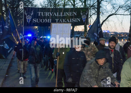 Neo-Nazi Demonstration at Independence Day of Finland in Helsinki 6th December 2018 - Stock Photo