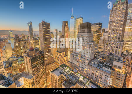 New York City financial district cityscape at twilight from above. Stock Photo