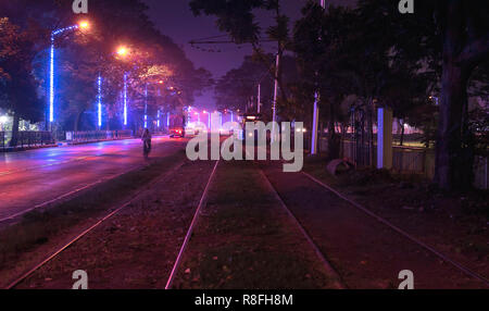 December13,2018.Kolkata,India.Trams in Kolkata is a tram system in the city of Kolkata,West Bengal,India,operated by the Calcutta Tramways Company. - Stock Photo