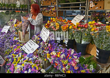 SUNDAY FLOWER MARKET, COLUMBIA ROAD, BETHNAL GREEN,TOWER HAMLETS, EAST LONDON. AUGUST 2018. The colourful Sunday morning street Flower Market is a bus - Stock Photo