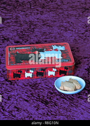 Tin of Walkers Scottish Shortbread Scottie Dogs Biscuits, UK - Stock Photo