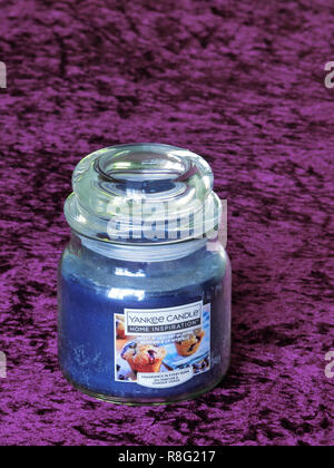 Yankee Candle Home Inspiration Fragranced, Scented or Perfumed Sweet Blueberry Muffins Candle - Stock Photo