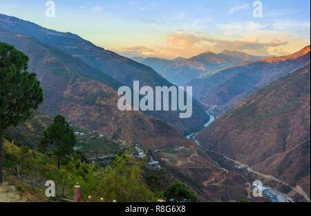 Bhutan eastern mountains near Trashigang - Eastern Bhutan - Stock Photo