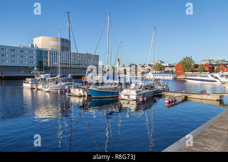 OULU, FINLAND - JULY 21, 2016: Harbor in the center of Oulu Finland during an sunny summer evening. - Stock Photo