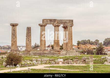 Temple of Apollo in Ancient Corinth, Greece - Stock Photo
