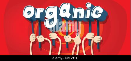 Diverse hands holding letters of the alphabet created the word Organic. Vector illustration. - Stock Photo