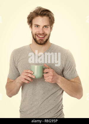 morning coffee, energy and refreshment, coffee break, feeling and emotions, healthy drink - Stock Photo