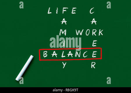 crossword of balancing work and life concept - Stock Photo