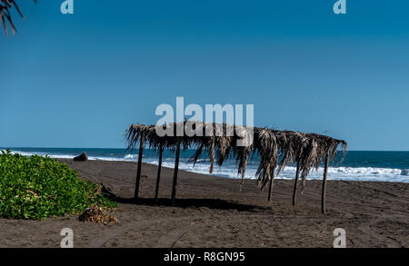 black sand beach in Guatemala - Stock Photo