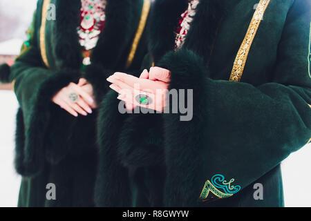 Beautiful girls in national Bashkir costumes. peoples of Russia. - Stock Photo