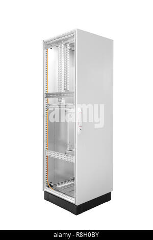 Industrial power supply control unit, electric power supply box  isolated on white background, Empty, ready to load and install. - Stock Photo