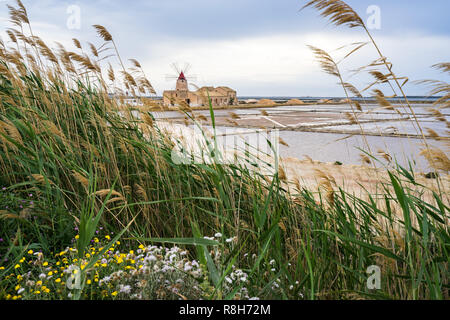 """The iconic old windmill """"Mulino d'Infersa"""" between the salt flats at Stagnone nature reserve, Marsala, Sicily, Italy - Stock Photo"""