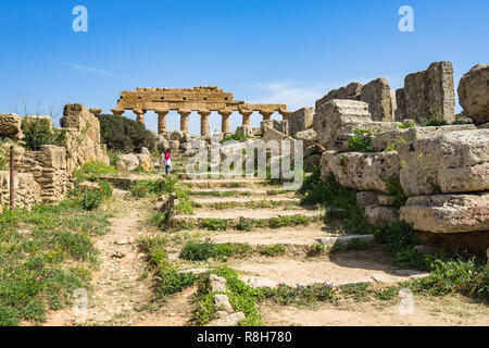 Road to Selinunte Acropolis and to Temple of Apollo (Temple C), Castelvetrano, Sicily, Italy - Stock Photo